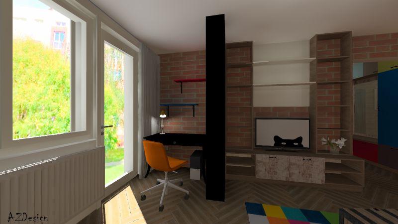 lakás látványterv nappali dolgozósarok